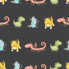 Fairy seamless pattern with cute cartoon dragons on dark  background. Vector image.