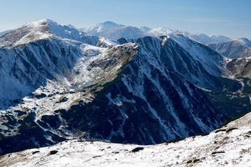 Wall Mural - View of Snowy Ridges of Western Tatras Mountains, Western Carpathians, Slovakia
