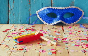 Purim celebration concept (jewish carnival holiday). selective focus