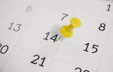 Thumbtack February 14, 2016 on the calendar, Valentine's day