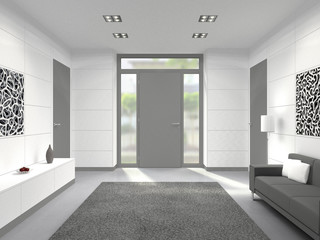 fictitious 3D rendering of a modern lobby interior with front door