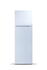 White refrigerator isolated on white. Fridge freezer