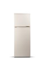 Beige refrigerator isolated on white. Fridge freezer