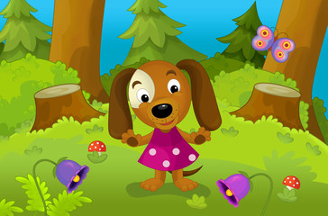 Happy cartoon scene with a young dog - illustration for the children