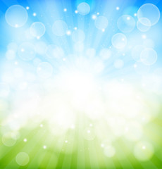 spring background with bokeh effects, lights rays. vector