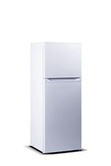 White refrigerator. Top freezer. Small fridge freezer