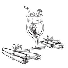 cinnamon, coffee, ink drawing brush isolated vector