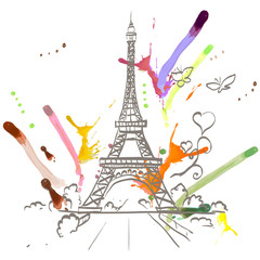 Eiffel tower romantic heart frame vector illustration
