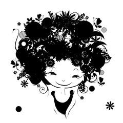 Floral female portrait, black silhouette for your design