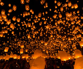 Floating lantern in Loy Kratong frstival, Chiangmai province of Thailand