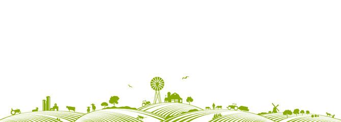 Bauernhof und Felder Fotoväggar