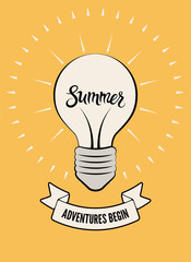 Typographic retro summer poster. Stylized shining light bulb. Vector illustration.