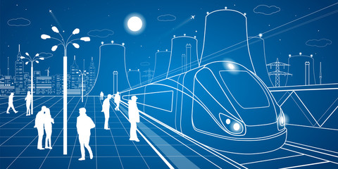 Railway station, people waiting for the train, industrial and transport illustration, energy plant, vector design art