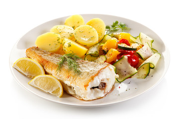 Fish dish - fried fish fillet and vegetables
