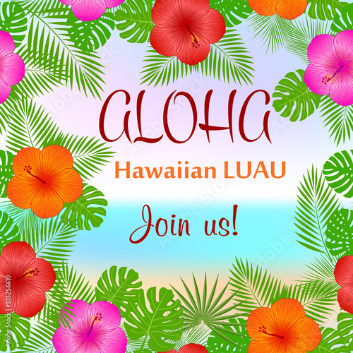 aloha hawaiian party template invitation stock image and royalty free vector files on. Black Bedroom Furniture Sets. Home Design Ideas