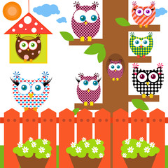 Vector illustration of colorful owls sitting on a tree.