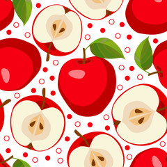 Red apples . Seamless pattern with apples.