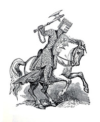 Antique Image Knight on a horse.