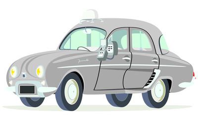 Caricatura Renault Dauphine Taxi París - Francia vista frontal y lateral