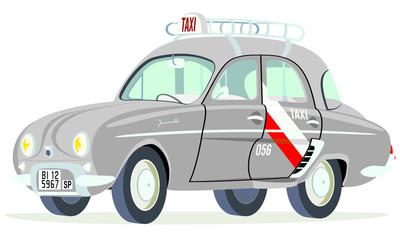 Caricatura Renault Dauphine Taxi Bilbao - España vista frontal y lateral