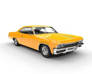 Classic muscle yellow car - studio lighting shot