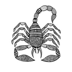 Scorpion in zentangle style on white background
