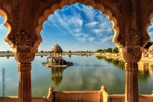 Wall mural Indian landmark Gadi Sagar in Rajasthan