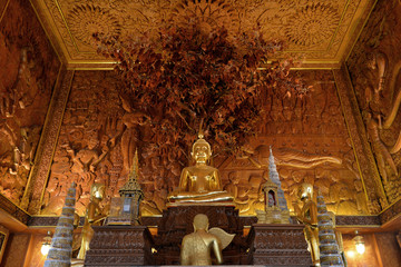 Beautiful Teak Temple at Wat Bangkhae Noi Near Amphawa Floating Market, Samut Songkhram, Thailand