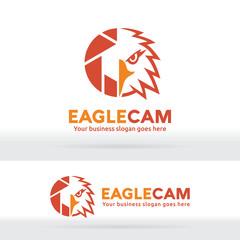 Eagle camera, Eagle head and shutter abstract logo. Photography company identity. Photographer portfolio. Sharp eagle eye and camera shutter logo.