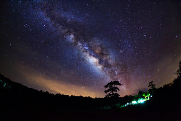 beautiful milkyway on a night sky, Long exposure photograph, wit