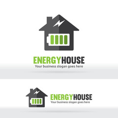 Energy house. Battery house. Power house. Electric house. Abstract logo. Brand identity. Bolt