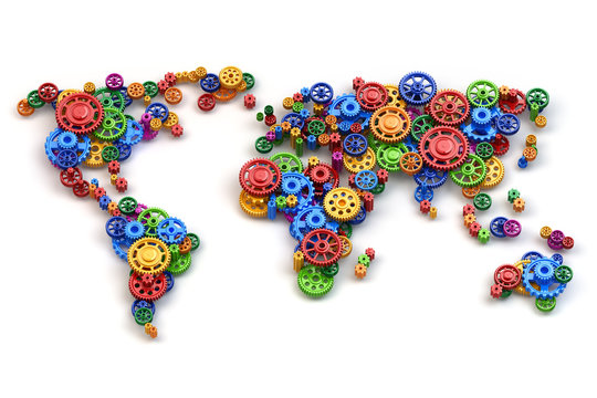 Map of the world from gears. Global economy connections and inte