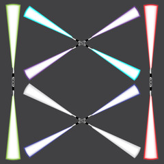 Light blade, light sword, futuristic science fiction energy weapon for Frame, border, banner or background design. Isolated Vector Illustration on dark background.