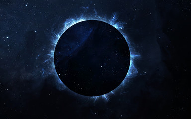 Fototapete - Solar Eclipse Above a Nebula. Elements of this image furnished by NASA