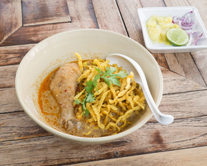 Egg noodle in chicken curry soup  (Kao Soi Kai ), Thai food style