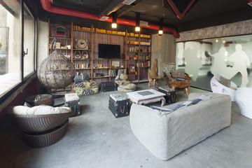 Minimalistic modern design style of a cafe bar