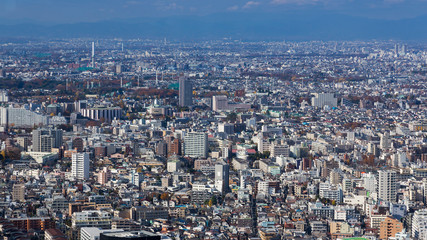 Tokyo crowded residence area aerial view, Japan