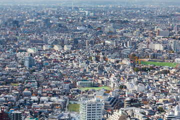 Aerial view of Tokyo residence the crowded city, Japan