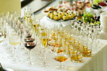 Elegant and luxury alcohol table wine champagne cognac at weddin