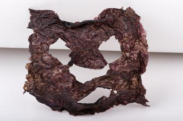 dried seaweed facial mask, closeup