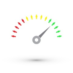 Teamwork speedometer - vector infographic, isolated on white