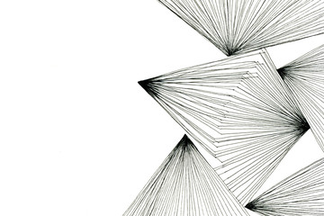Abstract black-and-white art drawing