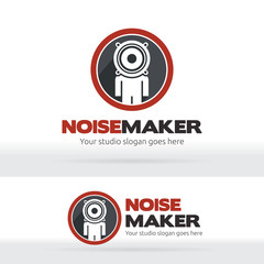 Noise maker, Music studio Brand identity, Human head speaker logo, Sound recorder studio logo, Music Party, Dance club lgo.