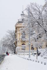 Bucharest, Romania - January 17: Calea Victoriei Street on Janua