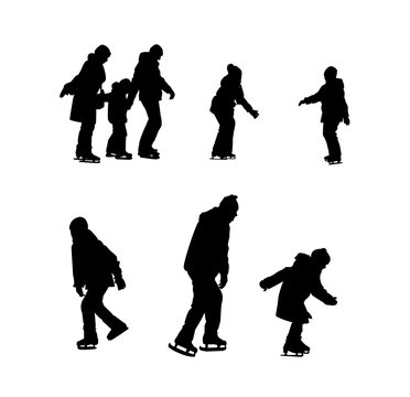 Set of silhouettes of children and adults skating.