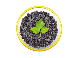 Blackberry (rubus) in glass bowl