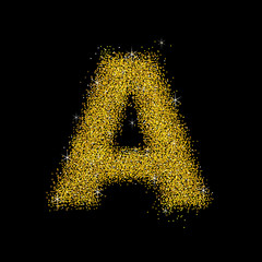 Gold dust font type letter A