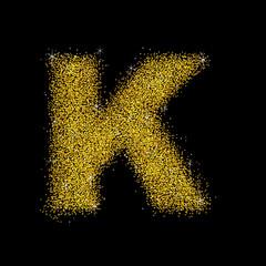 Gold dust font type letter K