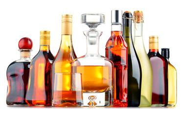 Foto op Aluminium Alcohol Bottles of assorted alcoholic beverages