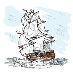 Wind-driven ship